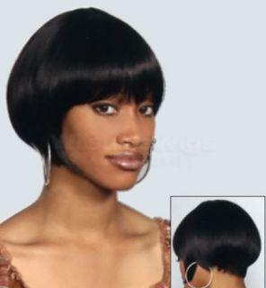 Short Bob Wig Women Straight Bangs 20s Black Brown Jo Ann New