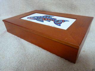 Joe Wilson Wood Box Salmon Legend Folk Art