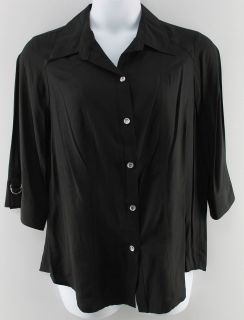 Joanna Plus New Womens Black Shirt Top Sz 1x 3X Ret $36