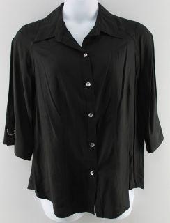 Joanna Plus New Womens Black Shirt Top Sz 1x 3X Ret $36