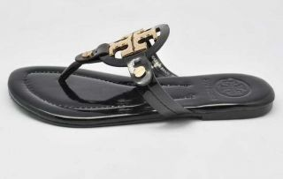 New Classic Miller Toryburch Patent Leather Sandals Black