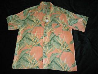 Joe Marlin Hawaiian Camp Silk Shirt Sz Large New