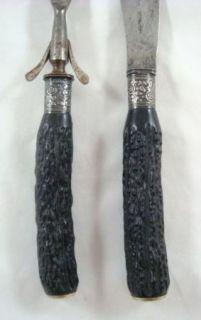 Antique Landers Frary Clark Aetna Carving Set Knife Stag & Sterling