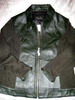 Terry Lewis Slate Marble Green Alligator Pattern Leather Wool Jacket