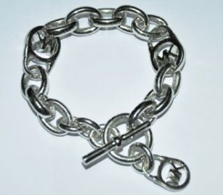 Brand New Michael Kors Silver Tone Logo Link Toggle Bracelet Must Buy