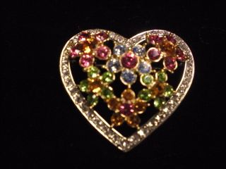 Beautiful Joan Rivers Heart w Crystal Brooch Pin High Quality