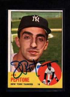 1963 Topps 183 Joe Pepitone Authentic on Card Autograph Signature
