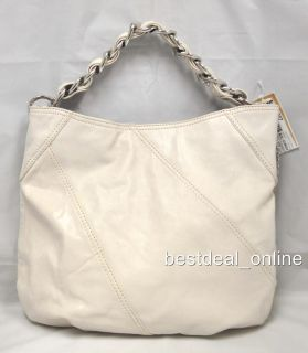 Michael Kors Collette Vanilla LG Shoulder Bag Genuine Leather Handbag