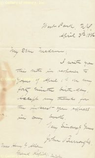 John Burroughs Autograph Letter Signed 04 03 1886