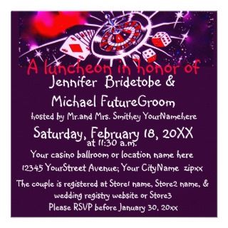 Las Vegas Casino Theme Bridal Shower Invitation