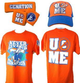 John Cena Orange Cenation WWE Costume T Shirt Baseball Hat Headband