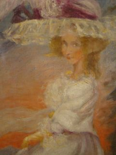 Antique Victorian Lady Hat Old Post Impressionistic Portrait Painting