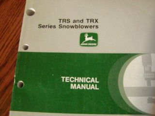John Deere TRS TRX Snowblower TM1466 Technical Manual Book TRS26 TRS27
