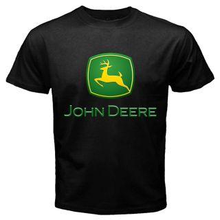 John Deere Logo Black T shirt Tractor Farmer John Deere Hunting Black