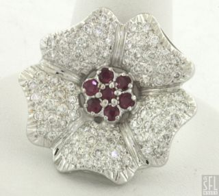 14k White Gold 1 90ctw Fancy 1 90ctw Diamond Ruby Cluster Flower