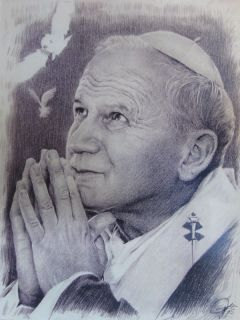 Pope John Paul II Sketch Charcoal Pencil Drawing WU165