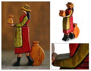 Chicha Seller Peru Hand Carved Wood Folk Art Sculpture