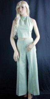 Vintage Casa Di Cole Womens 1960s Halter Top Pants Set Light Pastel