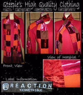 Kenneth Cole Reaction Dark Red Velvet Beaded Rayon Blend Long Fringe