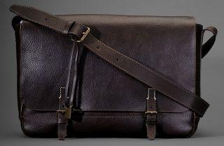 NEW John Varvatos Brown Italian Cheyenne 100% Leather Messenger Bag