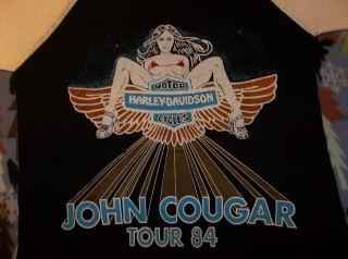 Vtg John Cougar Mellencamp T Shirt Harley Davidson Motorcycles concert