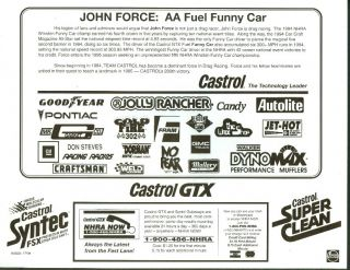 John Force Castrol Jolly Rancher AA Fuel Funny Car NHRA Print 1995