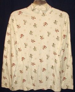 Shirt Turtleneck 2X CROFT & BARROW Christmas Snowmen winter holiday