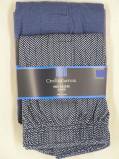 Croft Barrow Stretch Knit Boxers 2 Pair Pack Set Blue