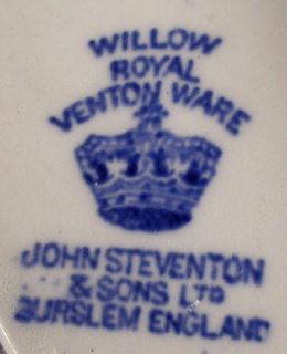 John Steventon China Blue Willow Fruit Sauce Berry Bowl