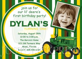 Boys John Deere Inspired Tractor Birthday Photo Invitation UPRINT