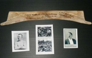 John L Sullivan 1858 1918 1st Boxing Champion Signed Worn Shirt Collar