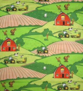 John Deere Farm Animal Scenic Tractor Cute 100 Cotton Quilt Fabric BTY