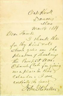 John Greenleaf Whittier Autograph Letter Signed