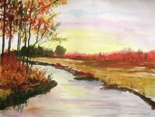 Original Autumn Landscape Watercolor Painting JMW Art John Williams Scene