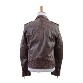 John Galliano Vintage Style Burgundy Motorcycle Leather Jacket US M EU 50