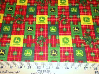 JOHN DEERE CHRISTMAS PLAID FLANNEL 1 2 yard X 40 fabric
