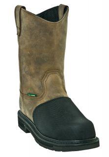 John Deere Mens Work Boots Flame Resistant Met Guard Wide E W Brown JD4370