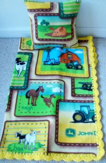 JOHN DEERE FARM ANIMALS BABY TODDLER BLANKET FLEECE CROCHET EDGE PILLOW CASE