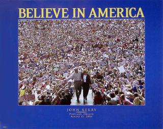 2004 John Kerry BELIEVE IN AMERICA Portland Poster