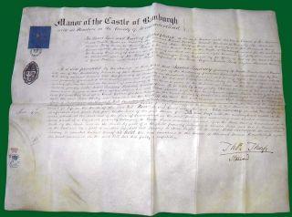 1846 VELLUM Manor of the Castle of Bamburgh John Lindsay of North Sunderland