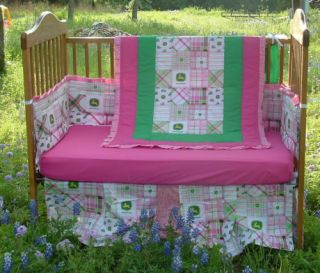 New Custom 7pc Pink Green John Deere Baby Sheet Set