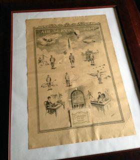 "Framed Original WWI Calendar Poster ""Air Service 1919"" by John Locke"