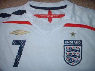 England Beckham Football Soccer Home Shirt Jersey Uniform 2007 09 Umbro XL