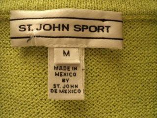 ST JOHN SPORT Lime Green Santana Knit Logo Button Front Cardigan Jacket M