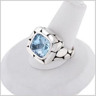 135736 JOHN HARDY Batu Kali Silver Blue Topaz Square Ring 7