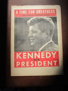 Vintage 1960s JFK KENNEDY FOR PRESIDENT Campaign Paper