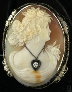 ANTIQUE HEAVY 14K WHITE GOLD LARGE DIAMOND HABILLE FILIGREE CAMEO BROOCH PENDANT