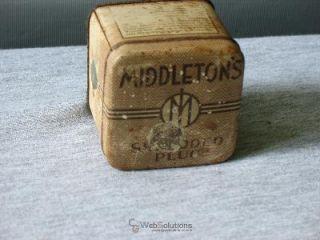 EARLY MIDDLETONS SHREDDED PLUG TOBACCO TIN 1800S VINTAGE RARE