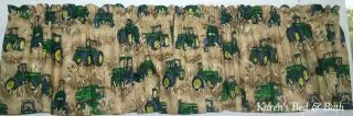 John Deere Tractor Brown Wheat Field Curtain Valance