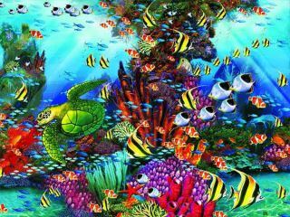 The Reef Seascape Turtle Fish Art John Enright 1500 PC Jigsaw Puzzle Ceaco New